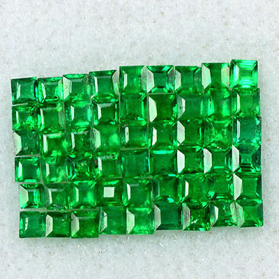 1.22 Cts Natural Fine Green Emerald Loose Gemstone 1.5 mm Square Cut Lot Zambia