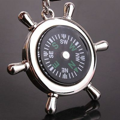 Portable Hike Outdoor Sport Tools Nautical Compass Key Ring Rudder Fashion