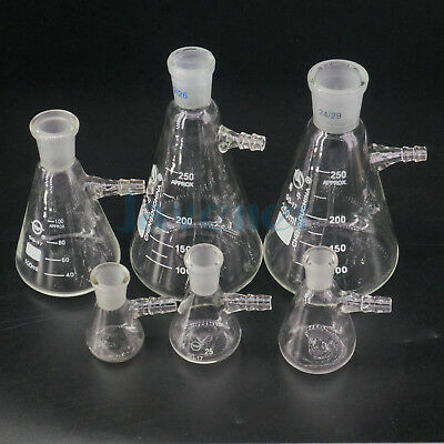 10ml 25ml 50ml 100ml 250ml 500ml Ground Joint Conical Filter Flask with Side Arm