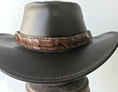 Python leather snake  hat band Adjustable HAT EXTRA  exotic for  unique hats