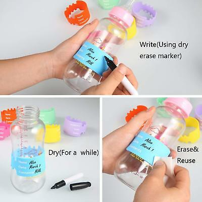 Baby Bottle Silicon Rubber Labels For Daycare. Write, Erase & Reuse