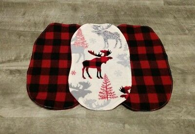 Set of 3 New Red and Black Plaid Burp Cloths Double Flannel ~ Deer Elk Woodland