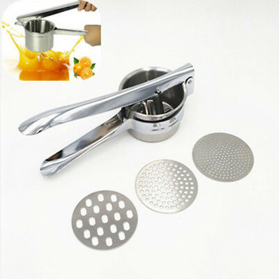 3Discs Professional Stainless Steel Potato Ricer Handheld Press Masher Juicer BM