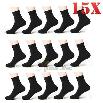15x Pairs Mens Bamboo Fibre Socks Odor Resistant Sweat Black Natural Comfortable