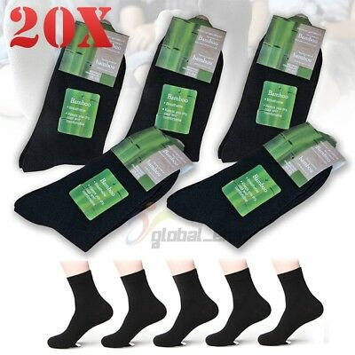 20x Pairs Mens Bamboo Fibre Socks Odor Resistant Sweat Black Natural Comfortable