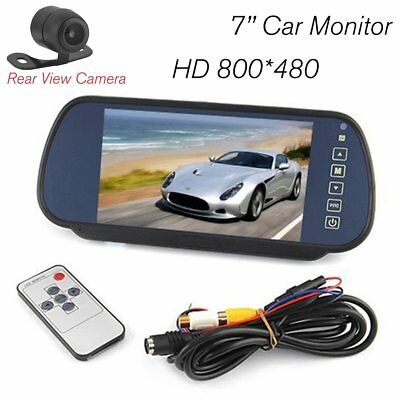 "7"" LCD Car Rear View Backup Mirror Monitor+Wireless Reverse Camera System Kit MA"