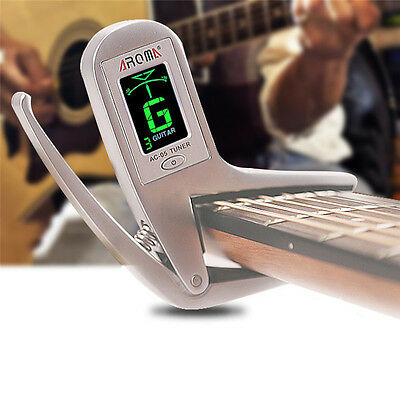Aroma 2in1 Metal Clip-on Guitar Capo Tuner Electric Acoustic Clamp Quick Change