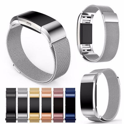 For Fitbit Charge 2 Magnetic Milanese Stainless Steel Watch Band Strap