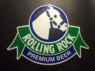 Vintage Rolling Rock Premium Beer Metal Bar Sign from 1991 - Racehorse
