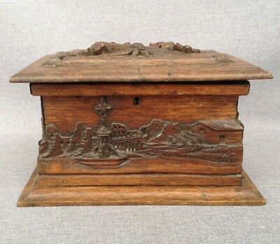 Big antique black forest box made of wood early 1900's France Louis XVI decor