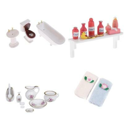 1:12 Dollhouse Decor Miniature Porcelain Bathroom Furniture Supplies Set