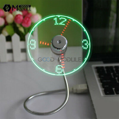 Mini USB Clock Fan LED Fan Powered Cooling Flashing Real Time Display Function