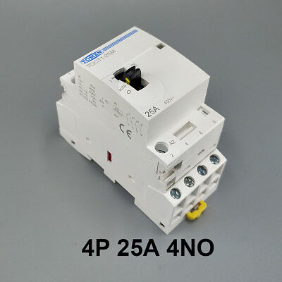 TOCT1 4P 25A 4NO Din rail Household ac contactor With Manual Control Switch