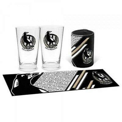 Collingwood Magpies Bar Essentials Gift Pack Skol Glasses Can Cooler Bar Mat