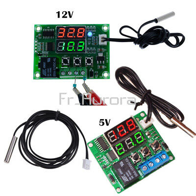 DC 12V Digital Dual LED Timer Relay Module 5V Temperature Controller Thermostat