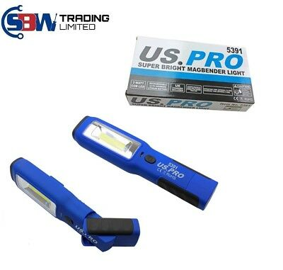 US PRO COB INSPECTION LIGHT & LED TORCH Super Bright Rechargeable Magbender 5391