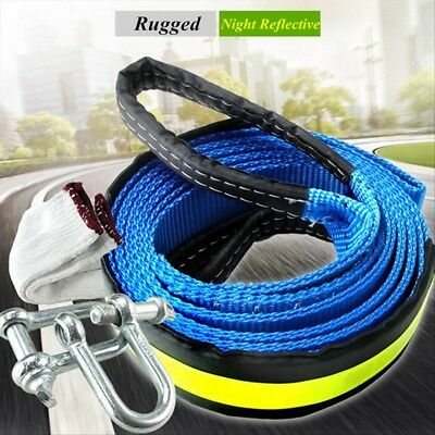 8T Heavy Duty Tow Rope Towing Pull Strap Winch Tree Strop 4x4 Offroad Recovery