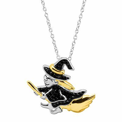 Crystaluxe Witch on Broomstick Pendant with Swarovski Crystals, Two-Tone Silver