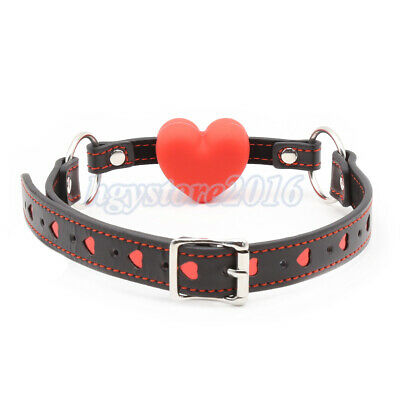 Open Mouth Gag Heart Faux Leather Shape Full Silicone Slave Harness Toys New