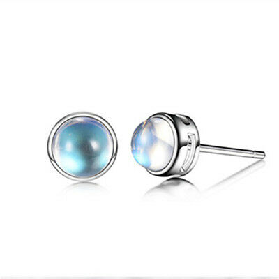 Women Girl Silver Color New Moonstone Simple Stud Earrings Jewelry LH
