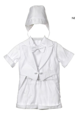 Baby Boy Christening Baptism white Outfit dove and grape tail XS 1-3 months