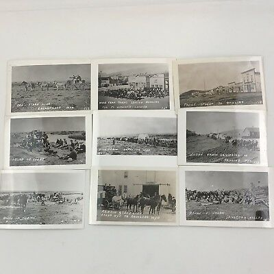 Lot Of 9 RPPC Real Photo Western Wagon Train Wyoming Old Towns Postcards