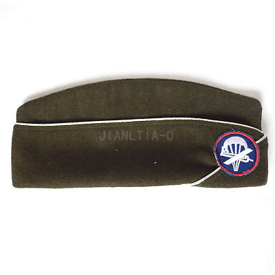 WW2 WWII US Army Paratrooper Hat Olive Green for US Uniform with Insignia
