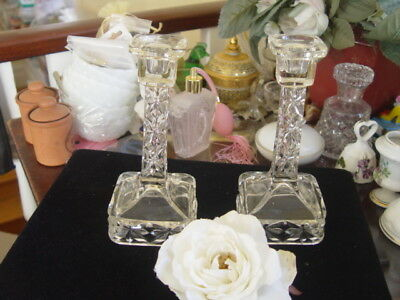 Pair Of Depression Glass Cut Glass Candle Sticks