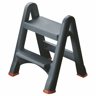 Folding Plastic Step Stool Black 333650•Easy to carry and store [SBY14528]