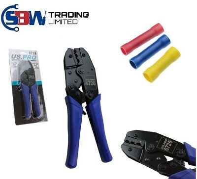 US PRO RATCHET CRIMPING PLIERS for insulated RED BLUE YELLOW terminals 6726