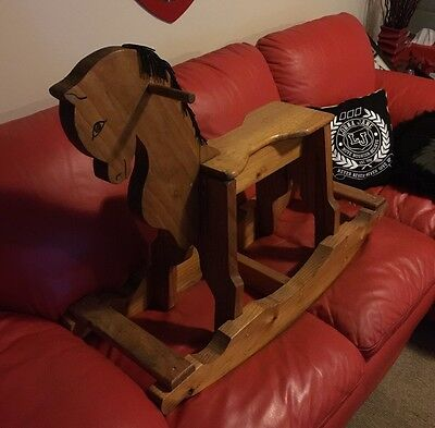 Gorgeous Handmade And Hand Carved Solid Wooden Rocking Horse Collectors Item
