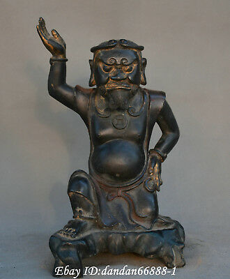 Chinese old bronze red copper One hand Support the sky ancient Buddha god statue
