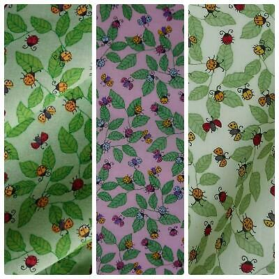 Polycotton Fabric with Ladybirds and Leaves (Per Metre) - 2 Colourways