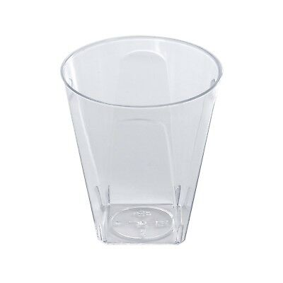 960 x Clear Square Shot Glasses Disposable Plastic 56ml/2oz - Party and Wedding