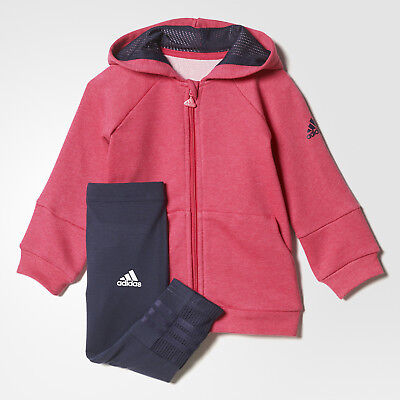 adidas girls pink & navy zip up leggings tracksuit set. Ages 0-4 years.