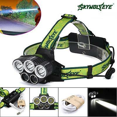 80000LM 5x XM-L T6 LED Rechargeable 18650 Headlamp Head Light Zoomable Torch ZH