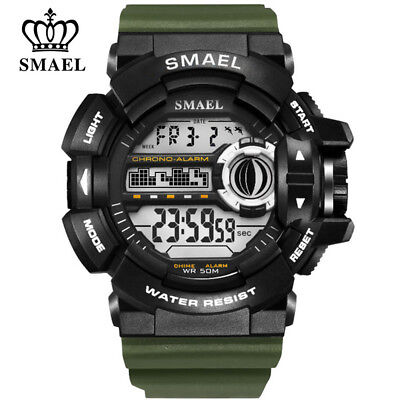 SMAEL Fashion Men Digital Wristwatch Rubber Strap Sport Watch LED Alarm Watches