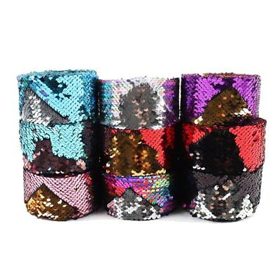 """2Yards/lot 2"""" Sequins Patchwork Ribbon Fabric Tapes DIY Hair Bow Craft Materials"""
