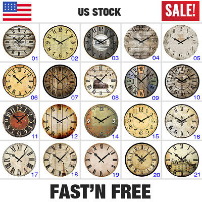 "Large 15"" Vintage Wooden Wall Clocks Shabby Chic Rustic Kitchen Home Decor Retro"