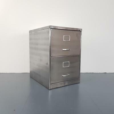 Vintage Industrial Stripped Metal 2 Drawer Filing Cabinet #2447