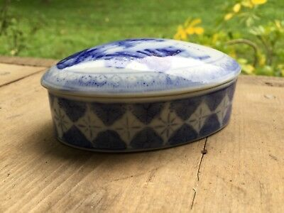 Vintage Chinese Porcelain blue and white Oval Trinket Box Mountains