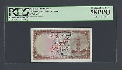 Pakistan 2 Rupees ND 1949 P11s Specimen About Uncirculated