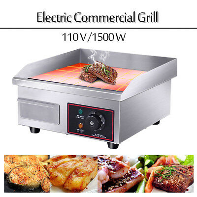 "60Hz 1500W 14"" Electric Countertop Griddle Flat Commercial Restaurant Grill BBQ"
