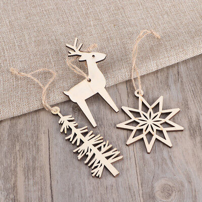 3pcs Xmas Wooden Snowflake Tree Elk Hanging Ornament for Tree Home Wall Decor