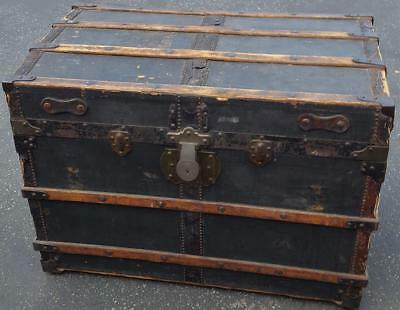 Antique All Wood Steamer Trunk - L. E. Griffith - Black Paper Covering - GDC