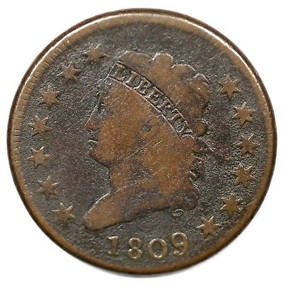 1809 S-280 R-2 Classic Head Large Cent Coin 1c