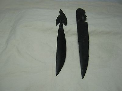 2 Vintage Wood Carved Letter Openers Bird and Native American/ African Head