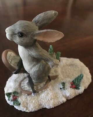 """Charming Tails by Dean Griff released in 1995 """"Binkey Snoeshowing"""" Figurine"""