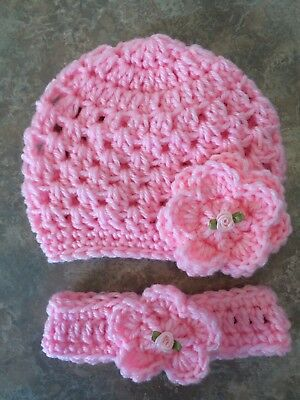 Crochet Beanie Hat, Headband Newborn -3 Month Baby Girl photo prop Shower Gift