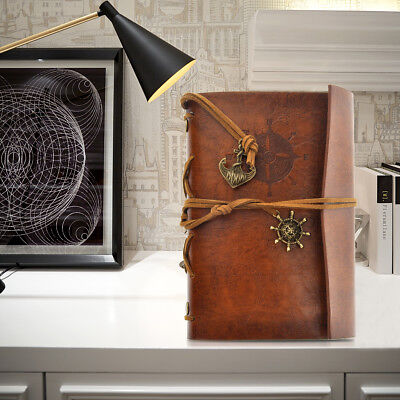 Vintage Loose-leaf String Bound Blank Diary Jotter Travel Journal Diary Brown